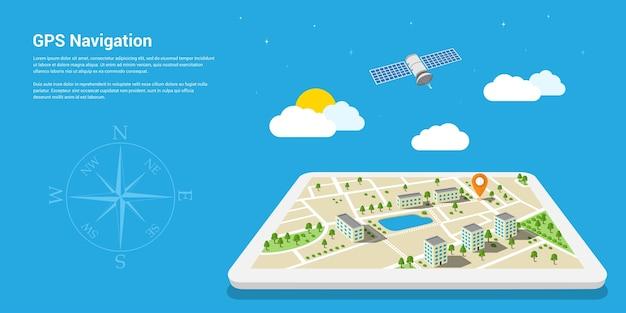 Stil der web-banner-vorlage für website oder infografiken, gps-system für die mobile navigation, zielort, erkennung und suche nach dem richtigen weg. Premium Vektoren