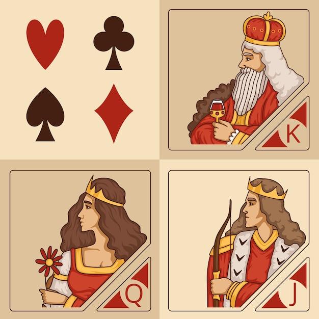 Stilisierte charaktere von kartenspielen Premium Vektoren