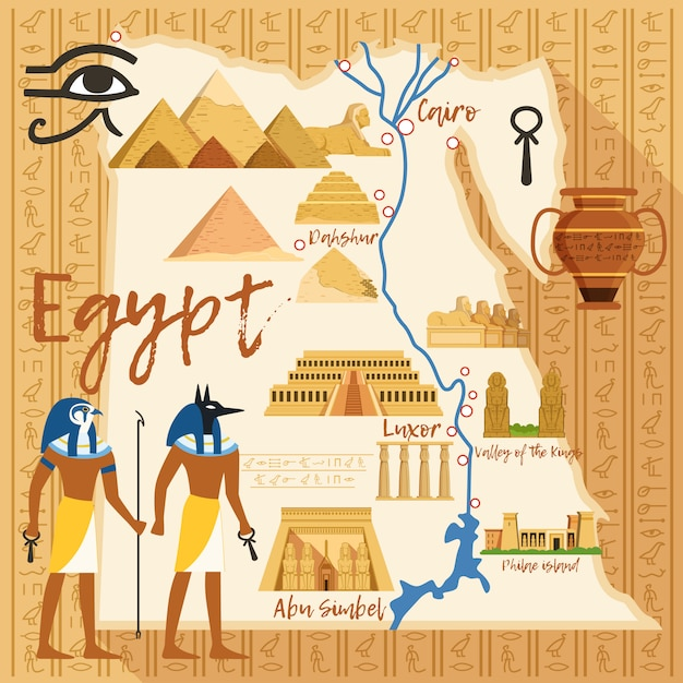 Stilisierte karte von ägypten mit verschiedenen kulturgütern Premium Vektoren
