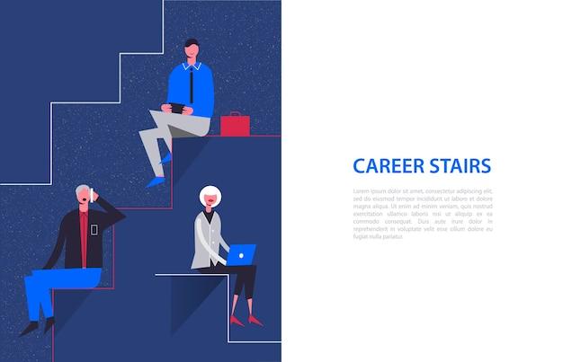 Stilisierte zeichen. geschäftsillustration. karrieretreppenkonzept. geschäftsleute und geschäftsfrau sitzen auf verschiedenen ebenen Premium Vektoren