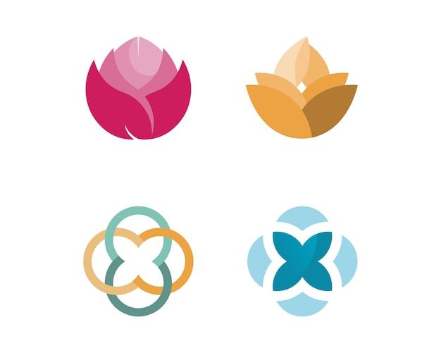 Stilisierter lotosblumenikonen-vektorhintergrund Premium Vektoren