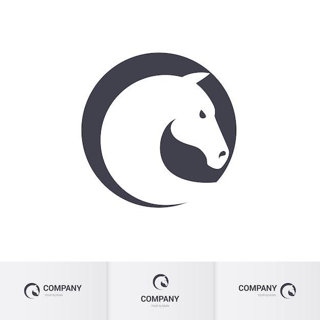 Stilisierter weißer pferdekopf im kreis für maskottchen-logo-schablone Premium Vektoren