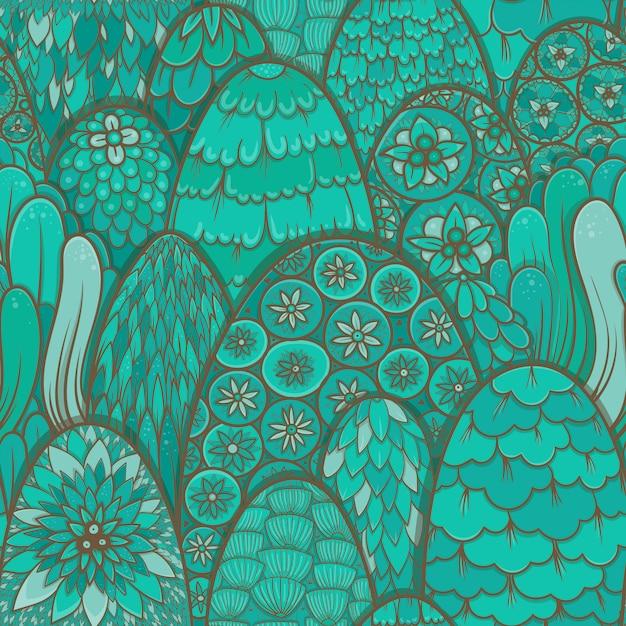 Stilisiertes nahtloses muster mit türkisfarbenen bäumen und büschen. botanischer hintergrund. asiatisches thema Premium Vektoren
