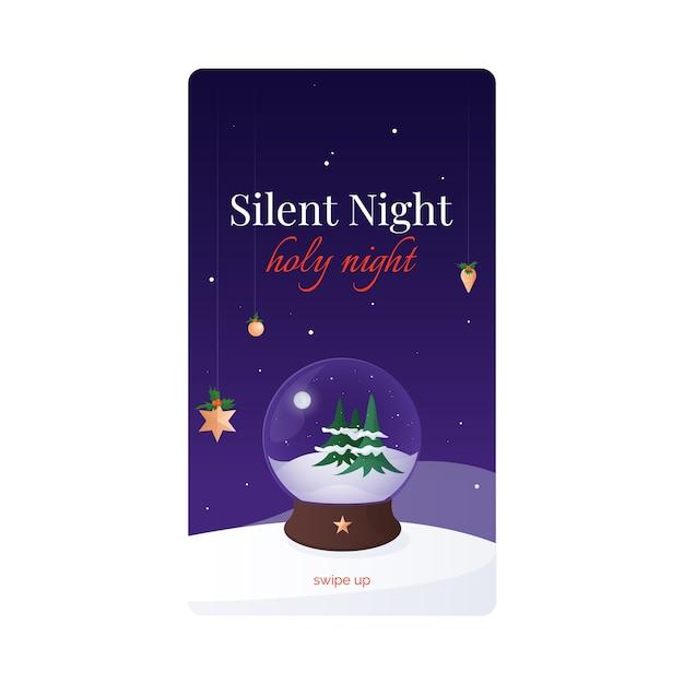 Stille nacht heilige nacht horizontale banner beliebte weihnachtslied und dekoriert mit stechpalme und schneekugel weihnachtsfeier traditionen und kulturelles erbe Premium Vektoren