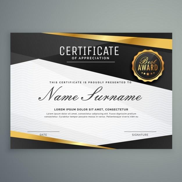 Stilvolle Anerkennungsurkunde Auszeichnung Vorlage in schwarz und ...