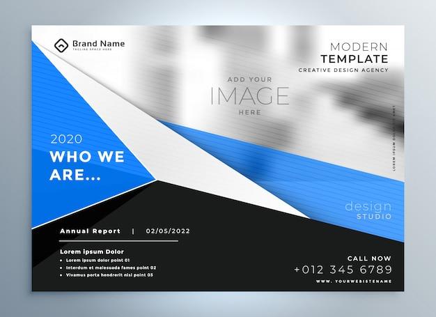 Stilvolle blaue geometrische geschäftsbroschüre-präsentationsschablone Kostenlosen Vektoren