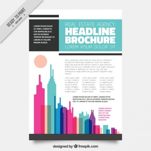 Stilvolle Immobilien-Flyer mit farbigen Wolkenkratzern | Download ...