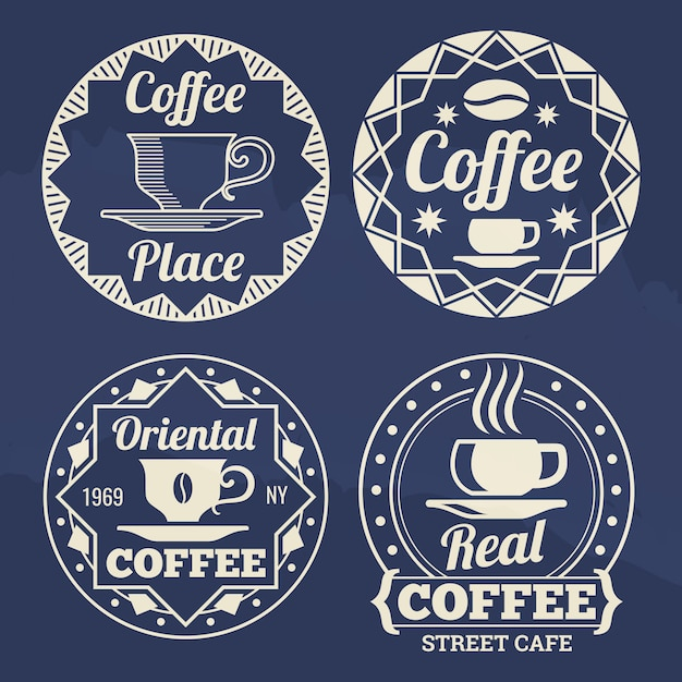 Stilvolle kaffeekennsätze für kaffee, geschäft, markt Premium Vektoren