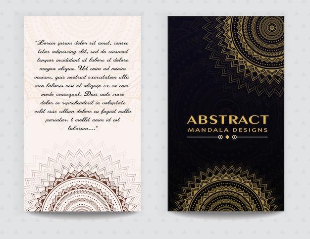 Stilvolle mandala premium golden card design Premium Vektoren