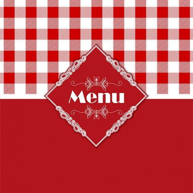 Stilvolle menü-design mit einem karierten stil muster Kostenlosen Vektoren