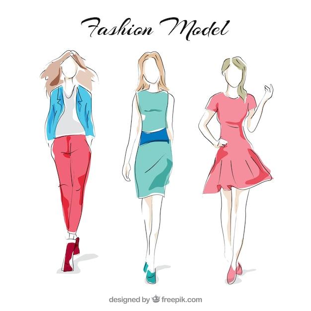 Stilvolle mode-modelle Kostenlosen Vektoren