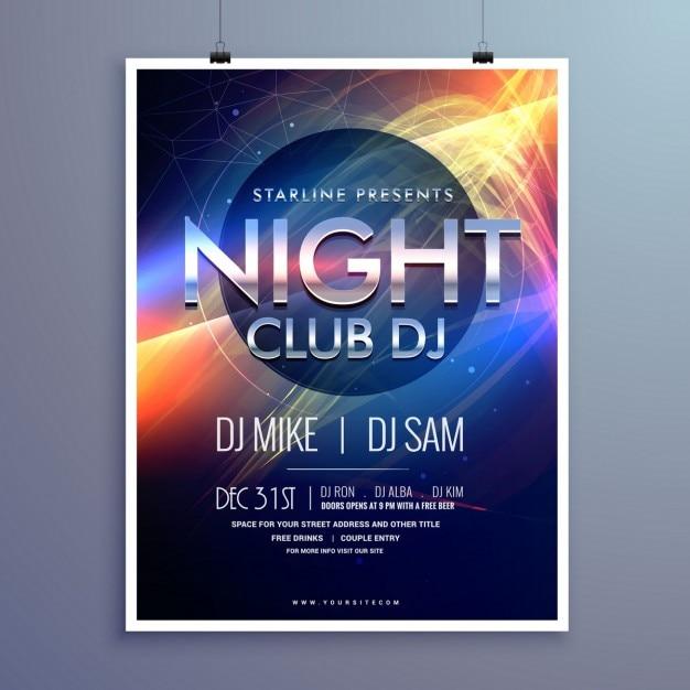 Stilvolle nachtclub musik-party flyer template-design Kostenlosen Vektoren
