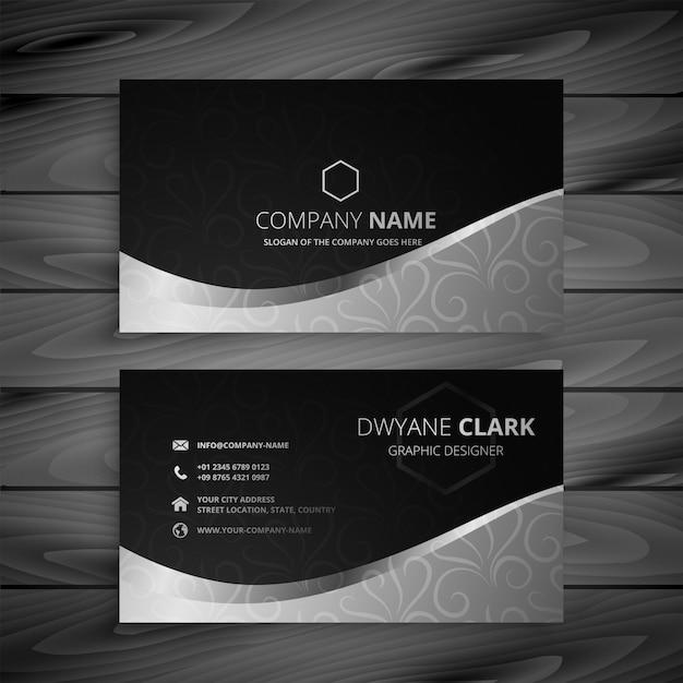 Stilvolle schwarze und graue wellen-visitenkarte Kostenlosen Vektoren