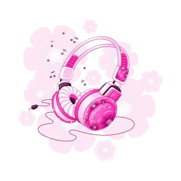 Stilvolle stereokopfhörer mit einem rosa blumenmuster. Premium Vektoren