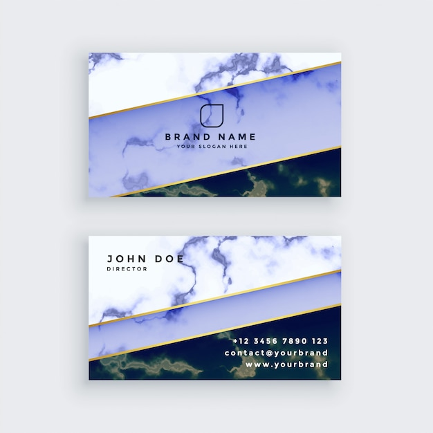 Stilvoller blauer marmorvisitenkartedesign Kostenlosen Vektoren