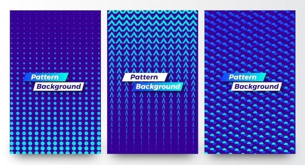 Stilvoller moderner abstrakter halber musterhintergrund-schablonensatz Premium Vektoren