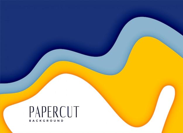 Stilvoller papercut gelber und blauer schichthintergrund Kostenlosen Vektoren