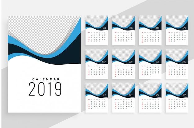 Stilvoller wellenförmiger kalenderentwurf 2019 Kostenlosen Vektoren