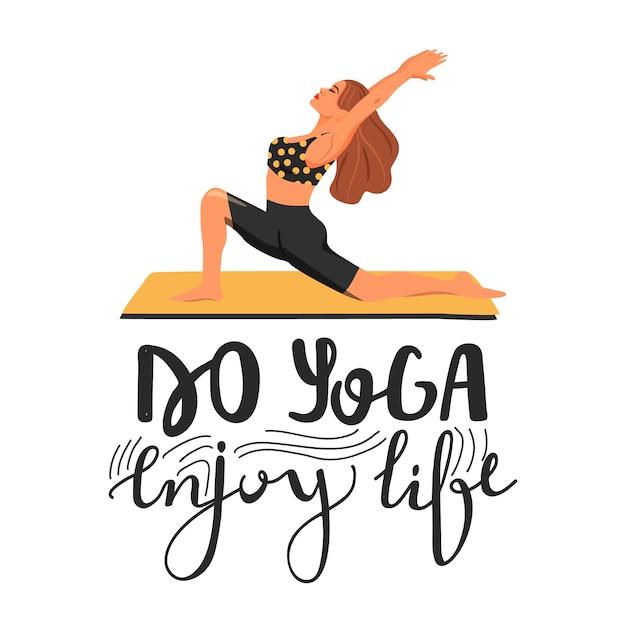 Stilvoller yogatypographie-sloganentwurf Premium Vektoren