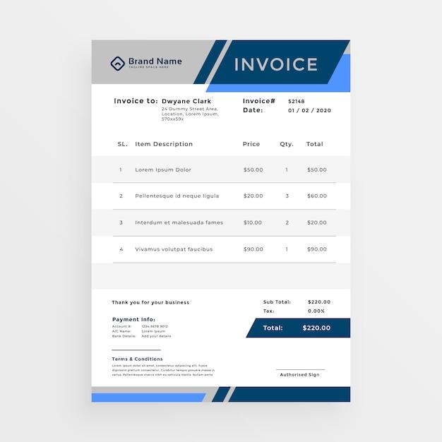 Stilvolles blaues geschäftsrechnungsschablonendesign Kostenlosen Vektoren