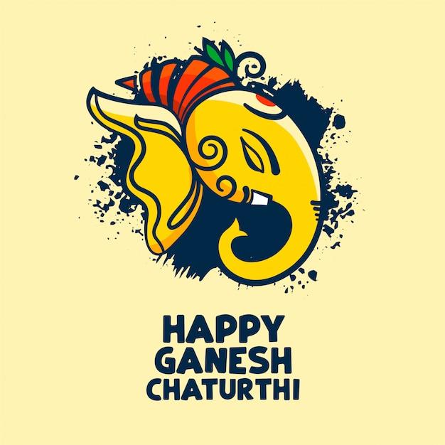 Stilvolles festivalkarten-design von happy ganesh chaturthi Kostenlosen Vektoren