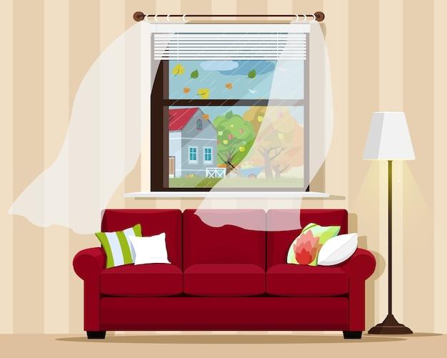 Stilvolles, komfortables zimmer mit sofa, lampe, fenster und herbstlandschaft. illustration. Premium Vektoren