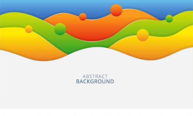 Stilvolles papercut hintergrunddesign der bunten abstrakten gewellten formen Premium Vektoren