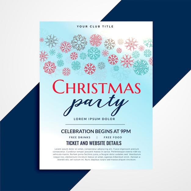 Stilvolles weihnachtsfestfliegerdesign mit schneeflockenmuster Kostenlosen Vektoren