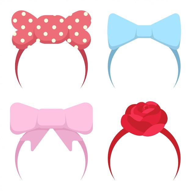 Stirnband mit schleife und rose blume für mädchen Premium Vektoren