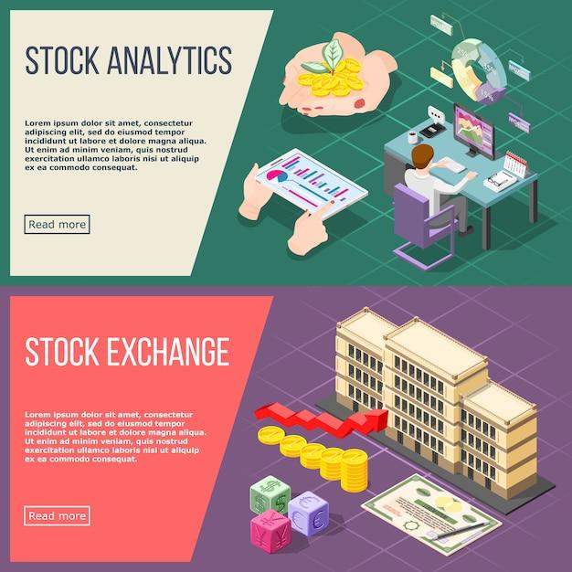 Stock exchange isometrische banner festgelegt Kostenlosen Vektoren
