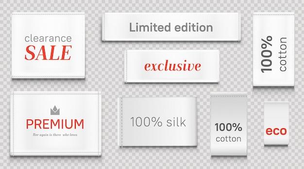 Stoffetiketten für bekleidung, weiße marken der premiummarke Kostenlosen Vektoren