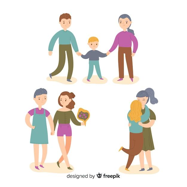 Stolz tag paare und familien sammlung Kostenlosen Vektoren