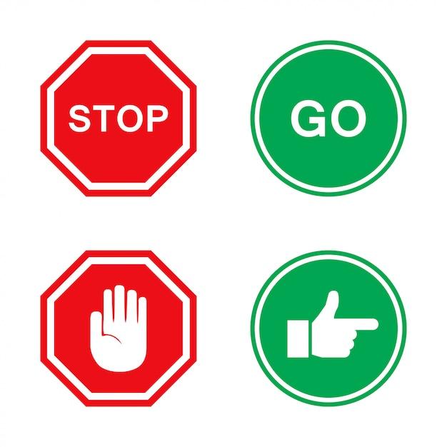 Stop and go schilder in rot und grün mit der hand Premium Vektoren