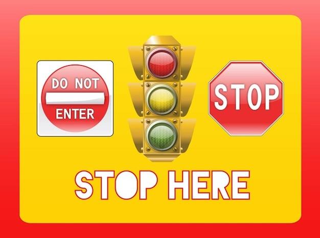 Stop Symbole und Semaphore Kostenlose Vektoren