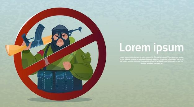 Stop terrorism bewaffnete terroristengruppe schwarze maske waffe maschinengewehr Premium Vektoren