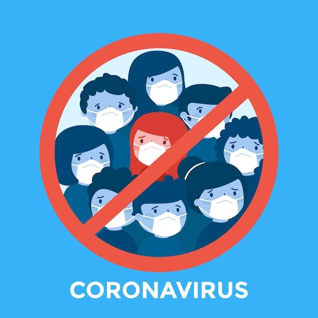 Stoppen sie coronavirus mit menschen Premium Vektoren