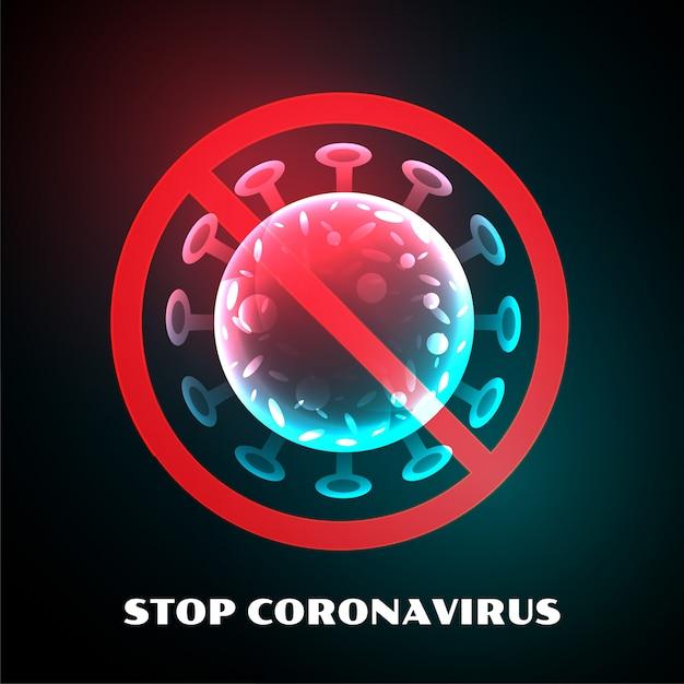 Stoppen sie das design des coronavirus-covid-19-virusinfektionssymbols Kostenlosen Vektoren