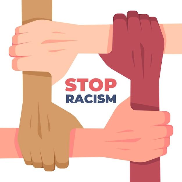 Stoppen sie das rassismus-konzept mit gemischtrassigen händen Kostenlosen Vektoren