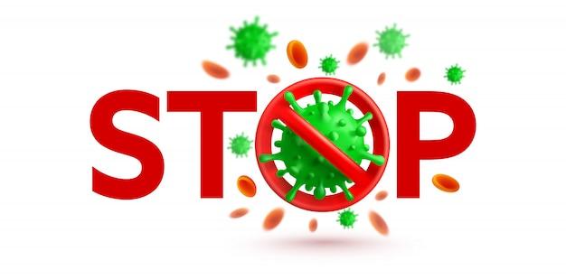 Stoppen sie das virus-zeichen mit grünen viruszellen auf weißem hintergrund Premium Vektoren