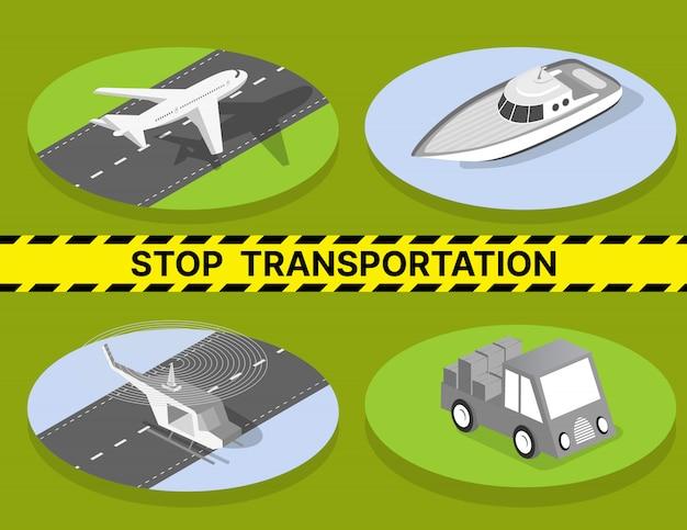 Stoppen sie den transport wegen quarantäne, fahrzeuge Premium Vektoren