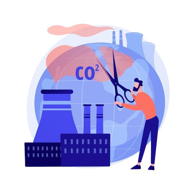Stoppen sie die luftverschmutzung. kohlendioxidreduzierung, umweltschäden, atmosphärenschutz. toxisches emissionsproblem Kostenlosen Vektoren