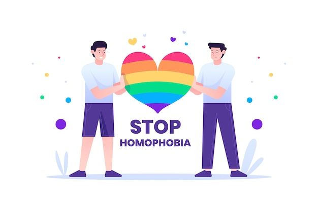 Stoppen sie homophobie illustriertes design Kostenlosen Vektoren