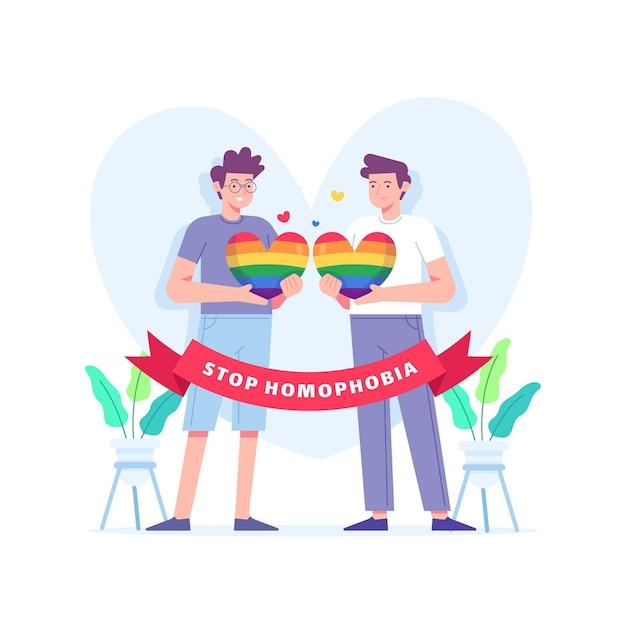 Stoppen sie homophobie illustriertes thema Kostenlosen Vektoren