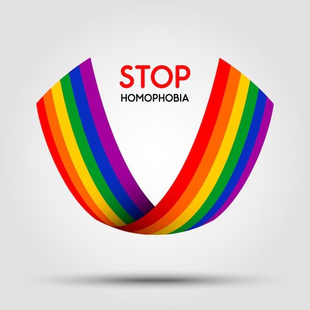 Stoppen sie homophobie. lgbt-band auf hellem hintergrund. element in. Premium Vektoren