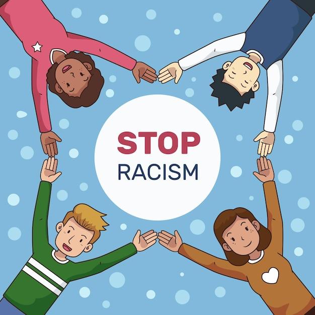 Stoppen sie rassismus illustrationsdesign Kostenlosen Vektoren