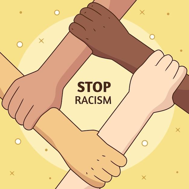 Stoppen sie rassismus illustrationskonzept Premium Vektoren