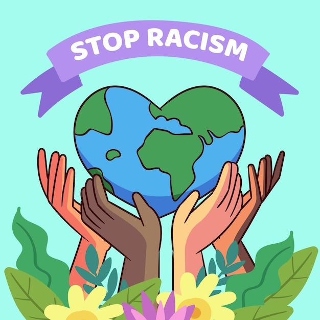 Stoppen sie rassismus illustrationskonzept Kostenlosen Vektoren