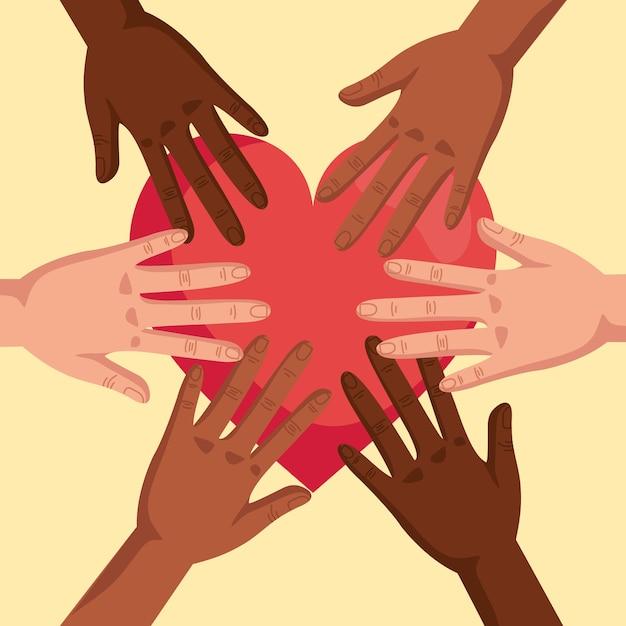 Stoppen sie rassismus, mit händen verbunden und herz, schwarzes leben materiekonzept illustrationsdesign Premium Vektoren