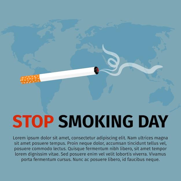 Stoppen sie, tagesplakat zu rauchen Premium Vektoren