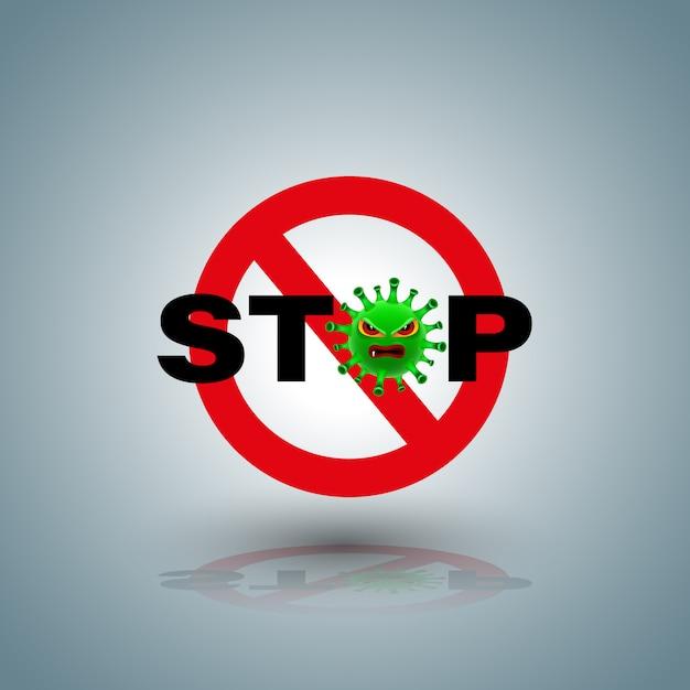 Stoppsymbol mit dem zeichen covid-19 für das kampagnenstopp-coronavirus. Premium Vektoren
